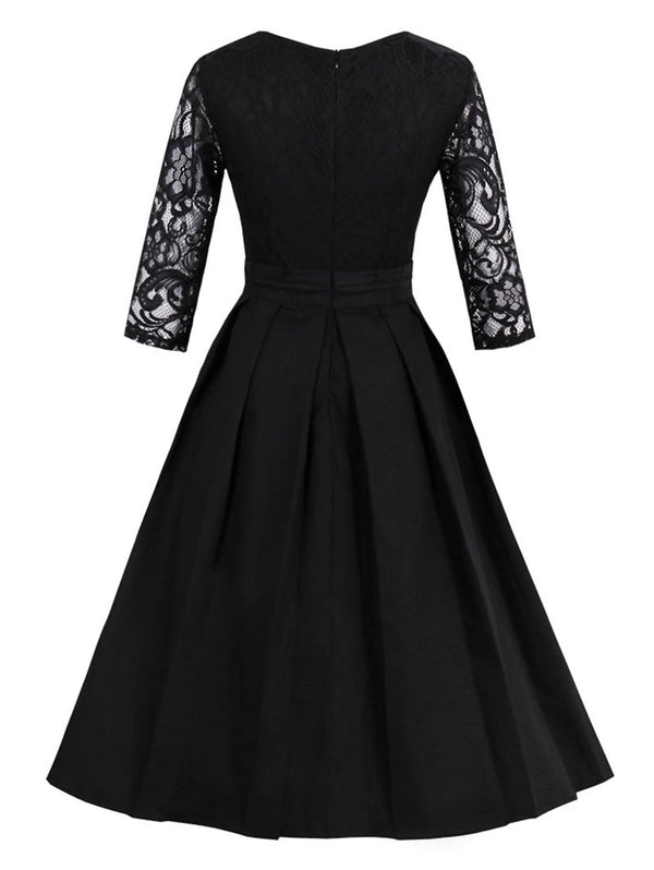 Vintage Lace Insert Fit and Flare Dress
