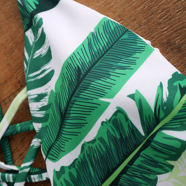 Palm Print Backless Plunge Padded Bathing Suit