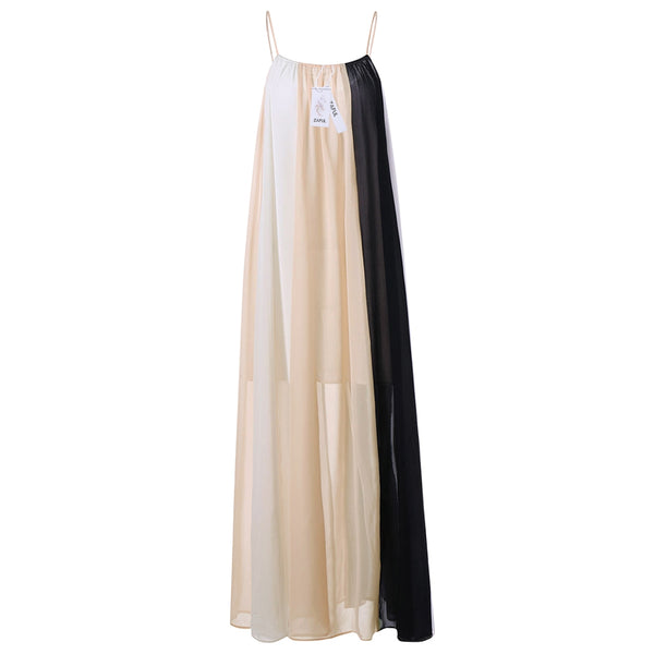 Color Block Flowing Maxi Slip Dress