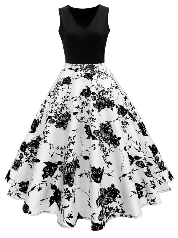 Print A Line High Waisted Dress