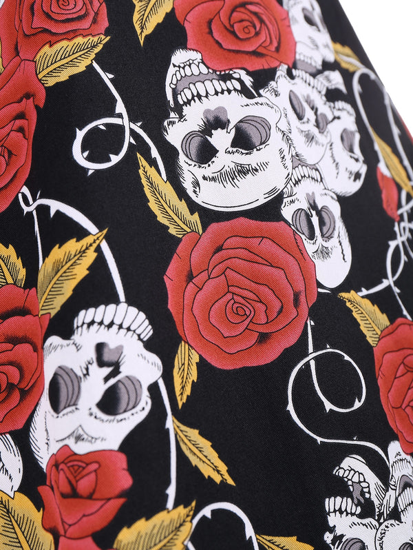Floral Skull Print A Line Plus Size Dress