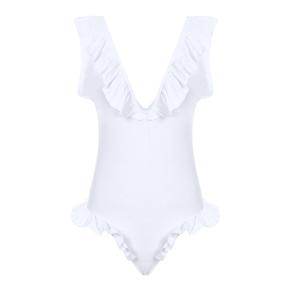 Sexy Plunge Neck Backless Ruffled Women Swimsuit