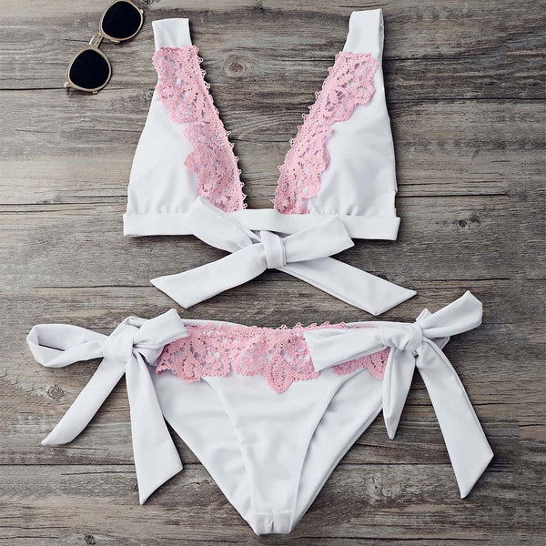 High Cut Contrast Lace Plunge Bikini Set