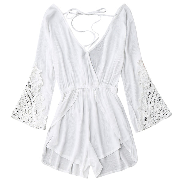 Low Back Plunge Linen Romper