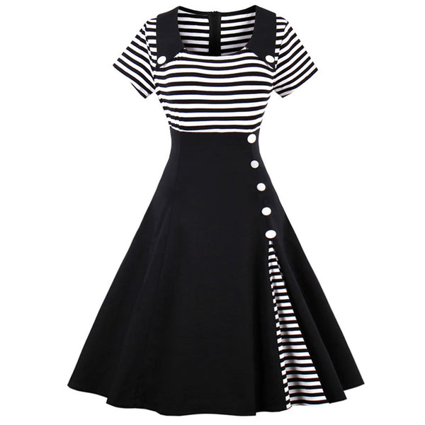 Striped Buttoned Dress