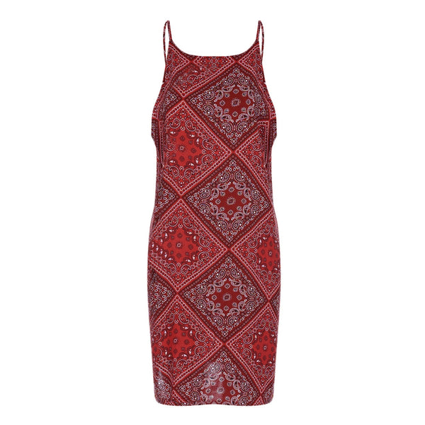 Stylish Spaghetti Strap Sleeveless Print Women Slip Dress