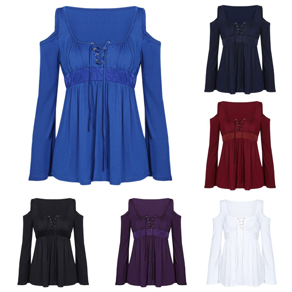 Long Sleeve Cold Shoulder Lace-up Spliced Women Blouse