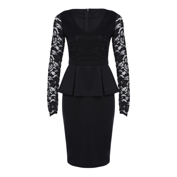 V Neck Long Sleeve See-through Lace Spliced Women Dress