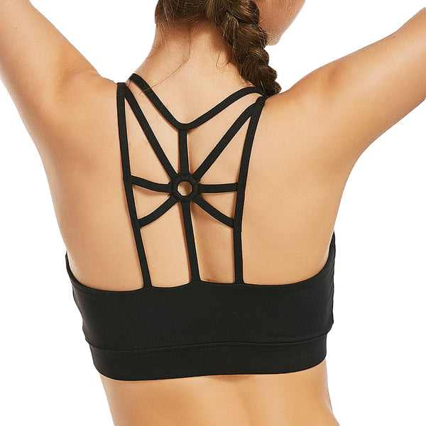 Back Cutout Strappy Sports Padded Bra