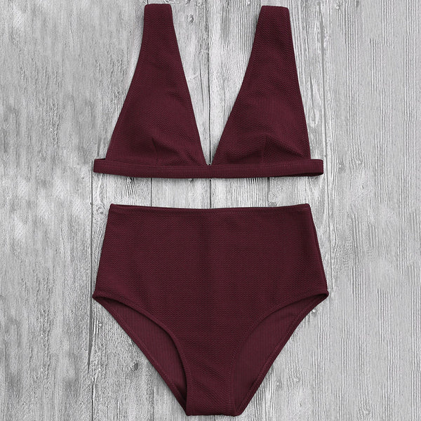 High Waisted Textured Plunge Bikini Set