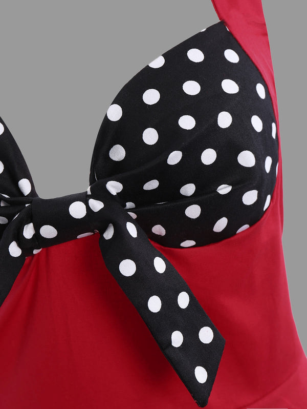 Polka Dot Halter Plus Size Vintage Dress