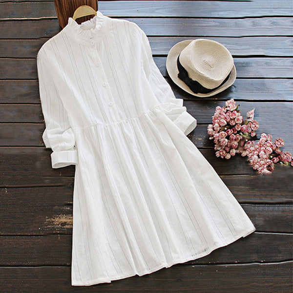 Cotton Ruffle Collar Shirt Dress