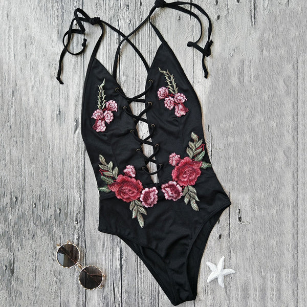 Strappy Floral Patch Swimwear
