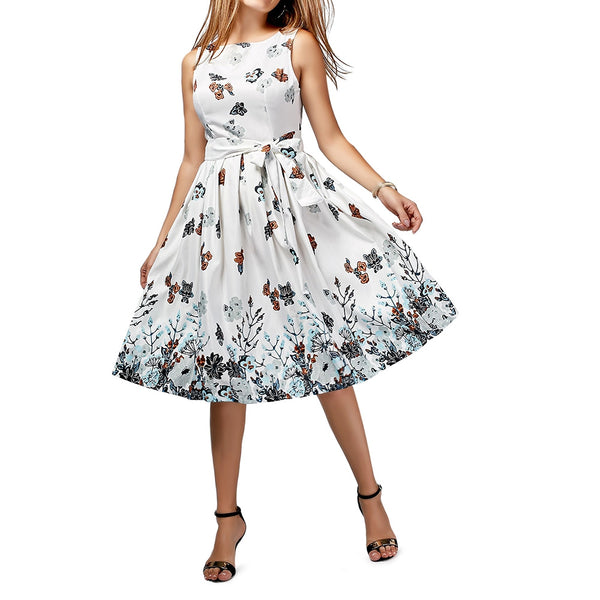 Sleeveless Floral Printed A Line Dress with Belt