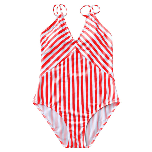 Striped Slimming Strappy Swimsuit