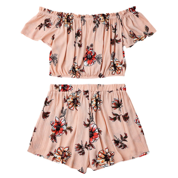 Off Shoulder Ruffles Top and Tulip Shorts