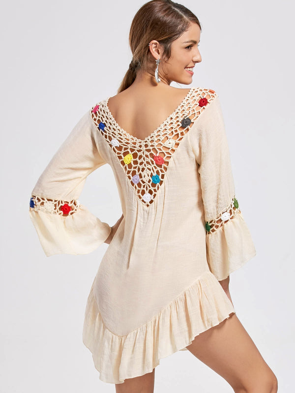 Bell Sleeve Sheer V Neck Crochet Tunic Top