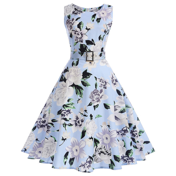 Vintage Floral A Line Sleeveless Dress