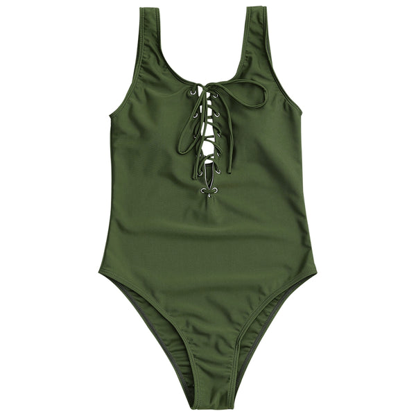 Lace Up Women Swimsuit