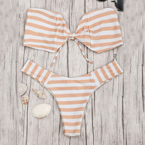 Striped Bandeau Bow Bikini Set