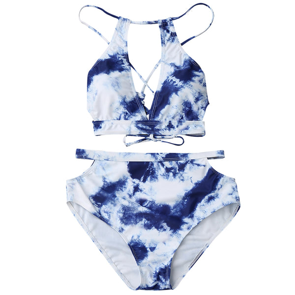 High Waisted Cut Out Tie-Dyed Bikini
