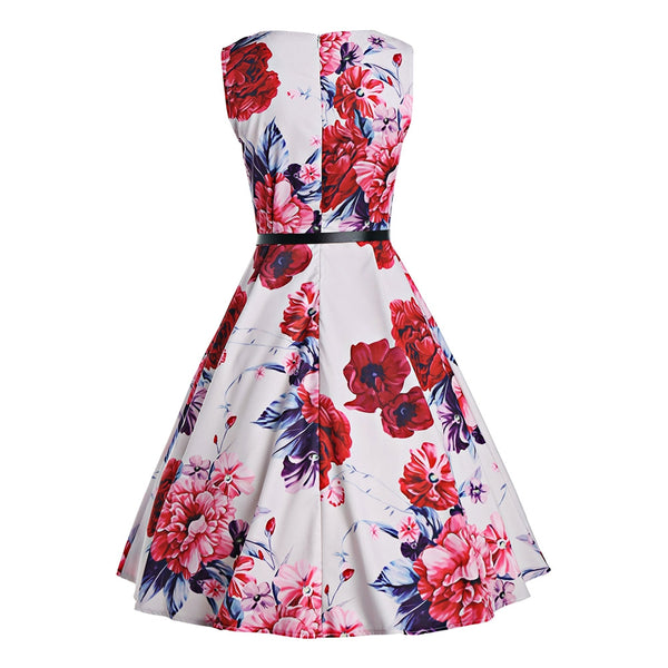 Belted Floral Print Skater Dress