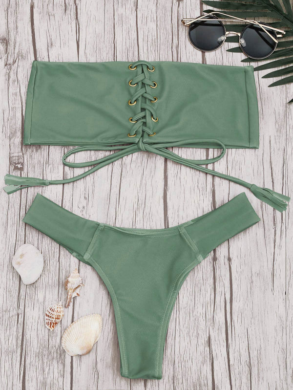Eyelets Lace Up Bandeau Bikini Set