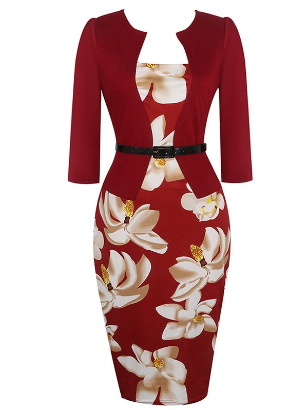 Floral Knee Length Pencil Fitted Work Dress