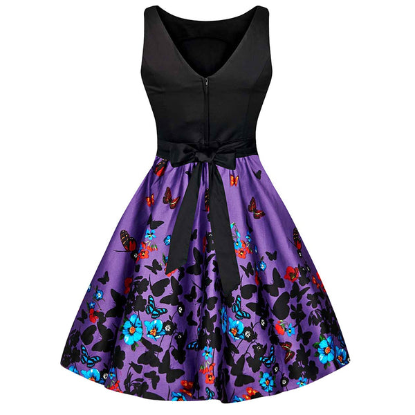 Butterfly Floral Print Bowknot Vintage Dress