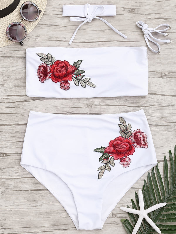 Floral Applique Bandeau High Waisted Bikini