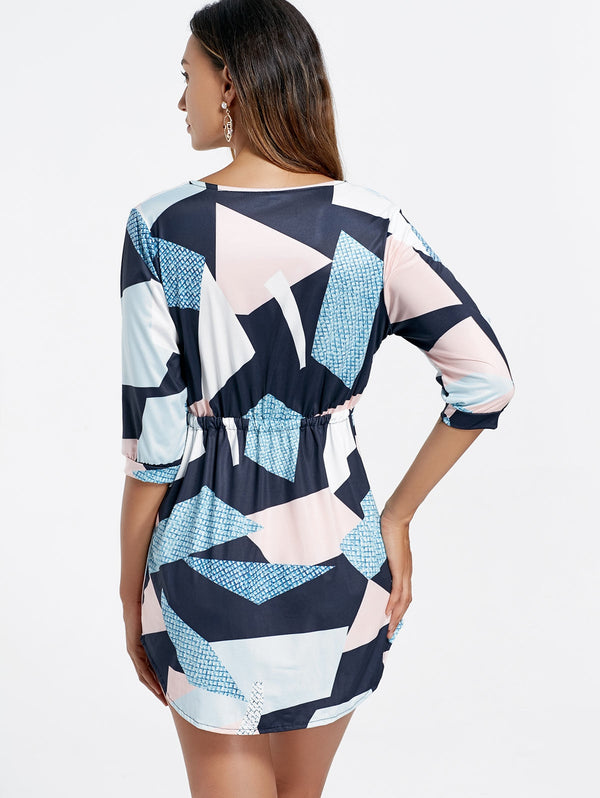 Plunge Drawstring Geometrical Mini Dress