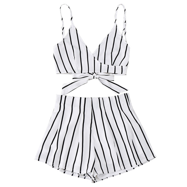 Cami Wrap Top with Striped Shorts