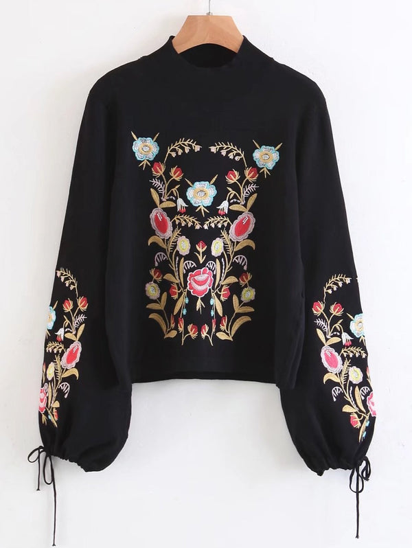 Mock Neck Floral Embroidered Flare Sleeve Sweater