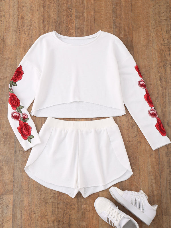 Floral Applique Top with Dolphin Shorts