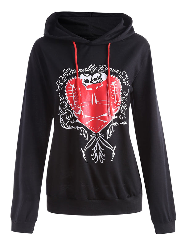 Plus  Size Heart Pattern Drawstring Halloween Hoodie