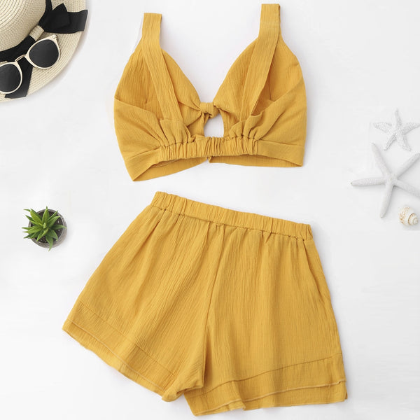 Cut Out Crop Top with Shorts Set