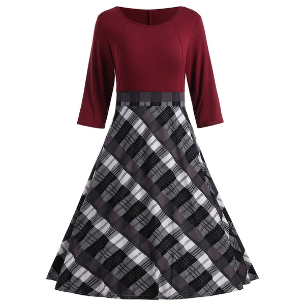 A Line Plaid Knee Length Dress