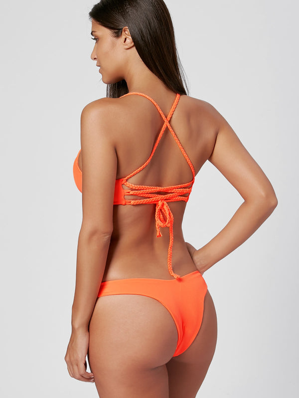 Braided Straps Cross Back Bikini Set