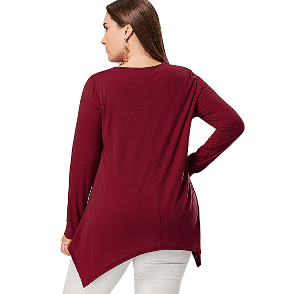 Plus Size Front Knot Cut Out Long Sleeve T-shirt