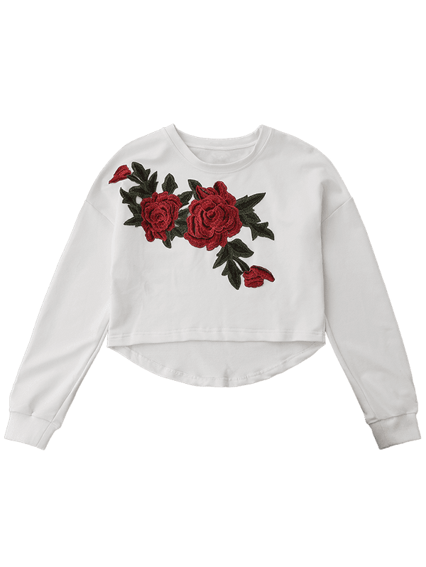 Floral Applique High Low Sweatshirt