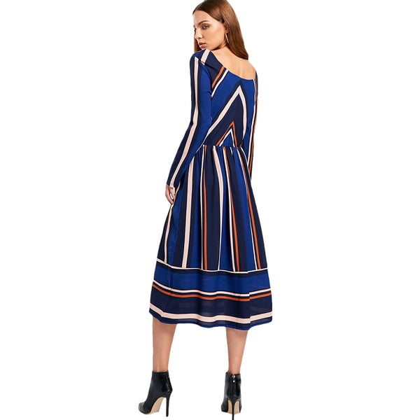 Striped Long Sleeve Mid Calf Dress