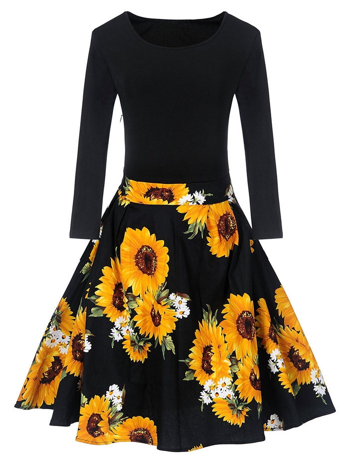 Vintage Sunflower Print Fit And Flare Dress Bestdress1 Com