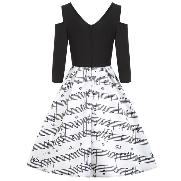 Cold Shoulder Music Note Print Vintage Dress