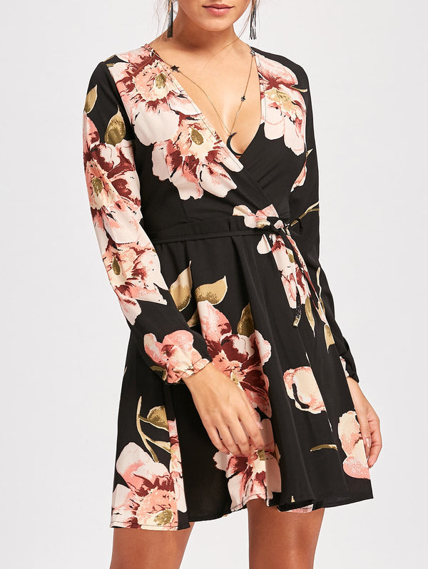 Floral Print Surplice Belted Mini Dress