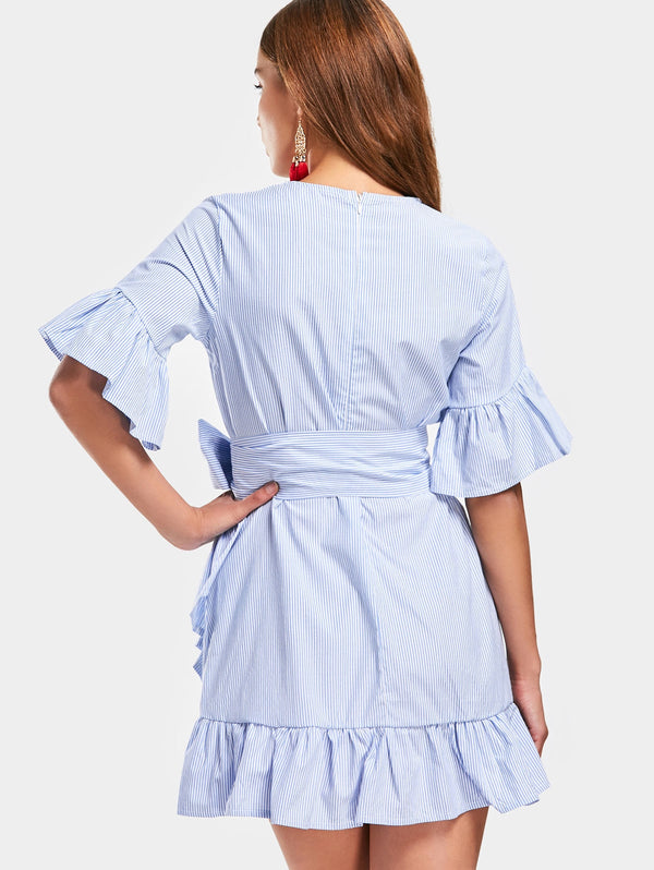 Flare Sleeve Ruffled Belted Dress