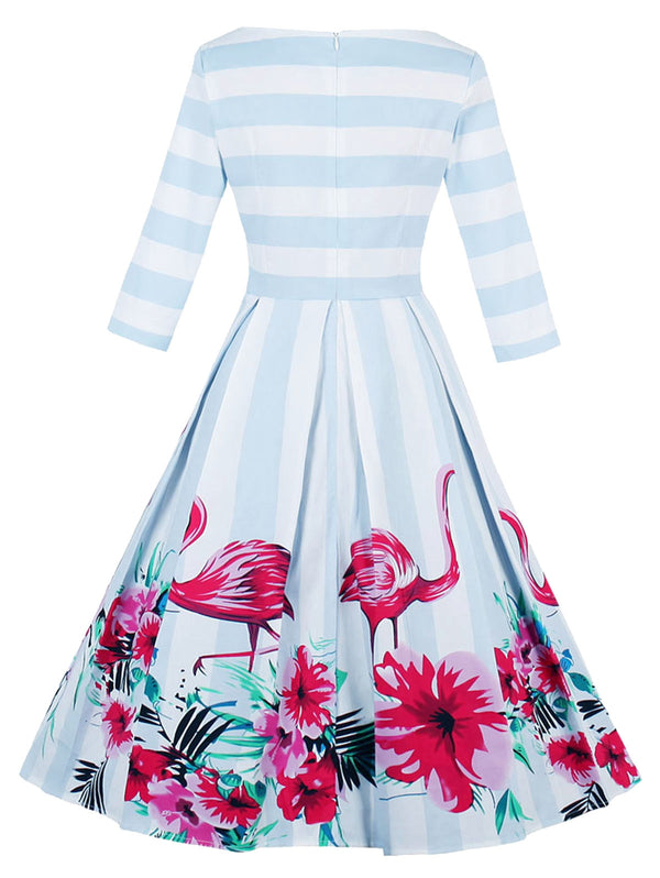 Plus Size Boat Neck Striped Floral Flamingo Print Dress