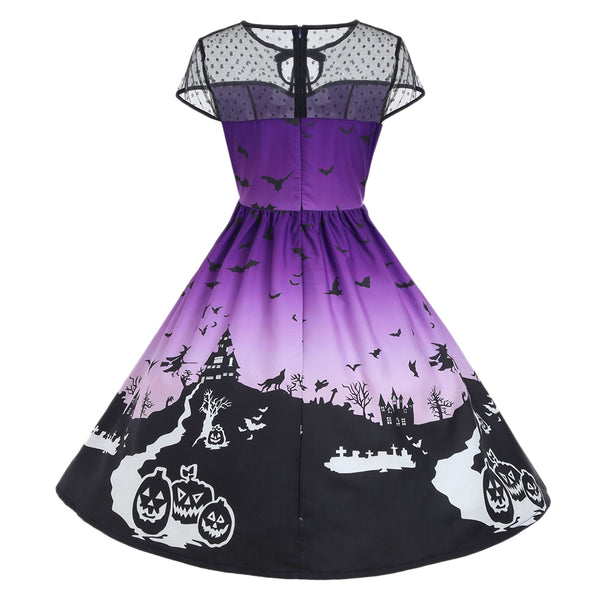 Halloween Mesh Insert Vintage A Line Dress