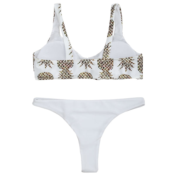Pineapple Print Bralette Bikini Set