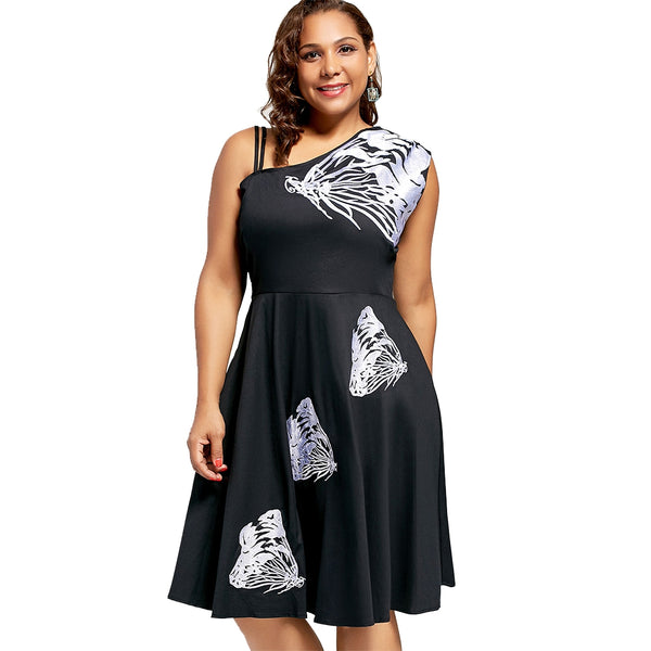 Butterfly Embroidered Sleeveless A Line Plus Size Dress