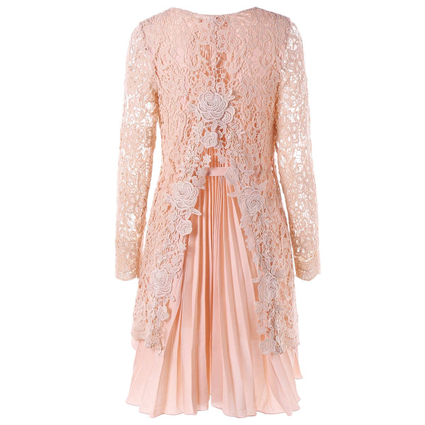 Long Sleeve High Low Mini Lace Pleated Dress
